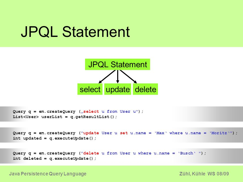 JPQL Statement JPQL Statement select update delete