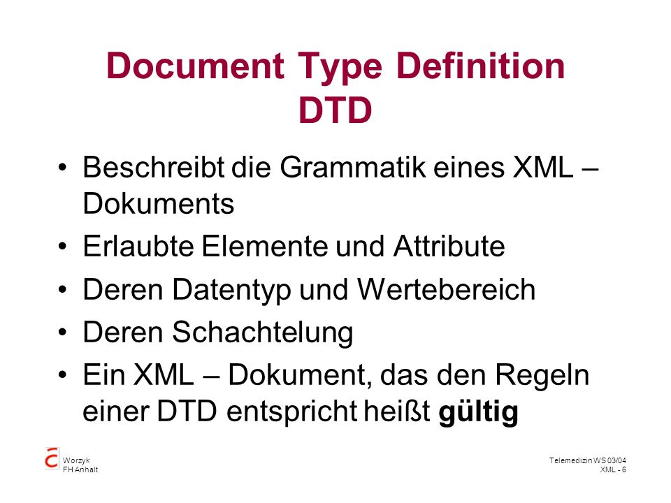 Document Type Definition DTD