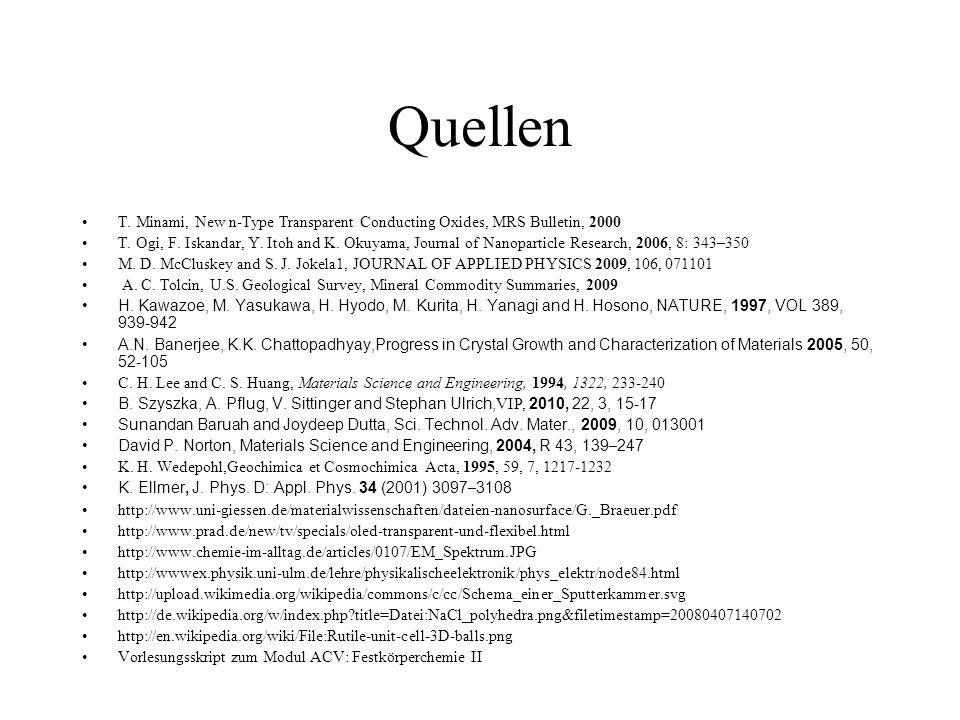 Quellen T. Minami, New n-Type Transparent Conducting Oxides, MRS Bulletin,
