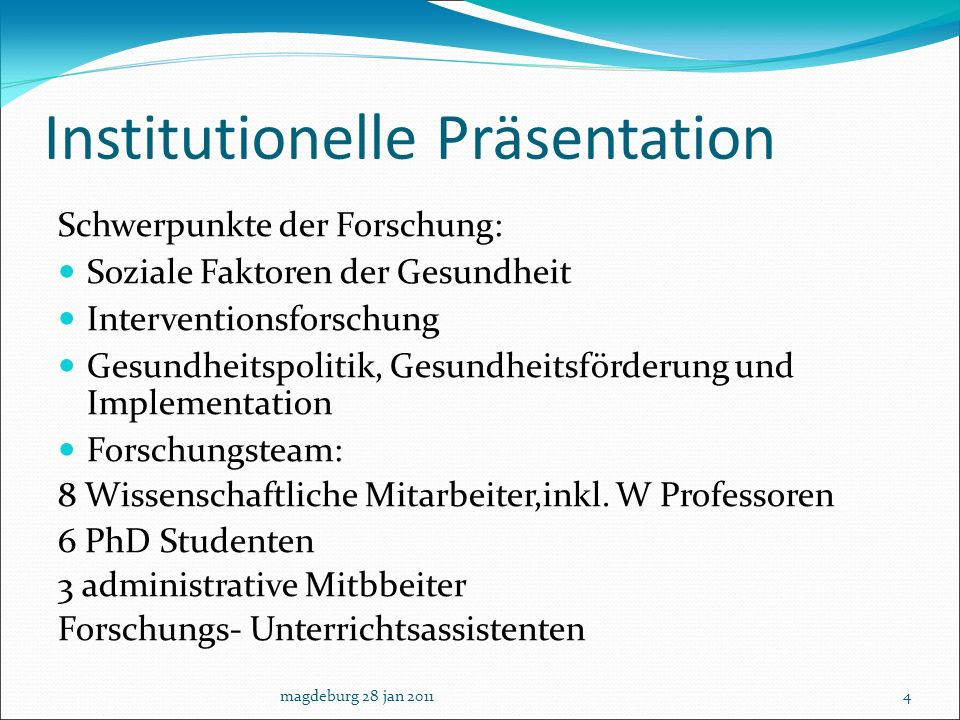 Institutionelle Präsentation