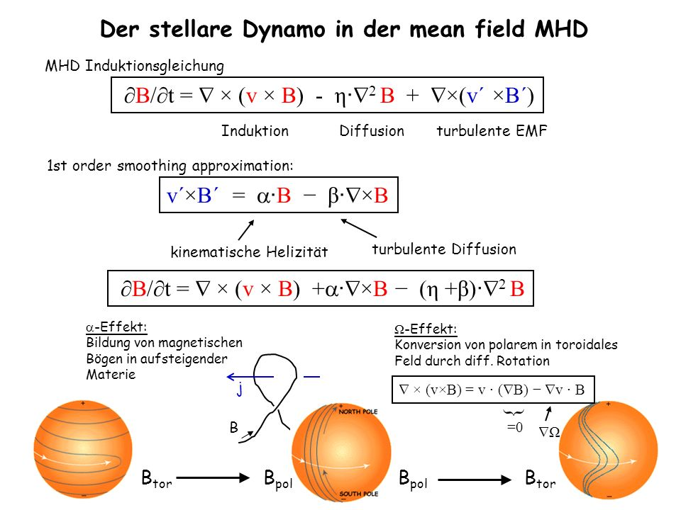 Der stellare Dynamo in der mean field MHD