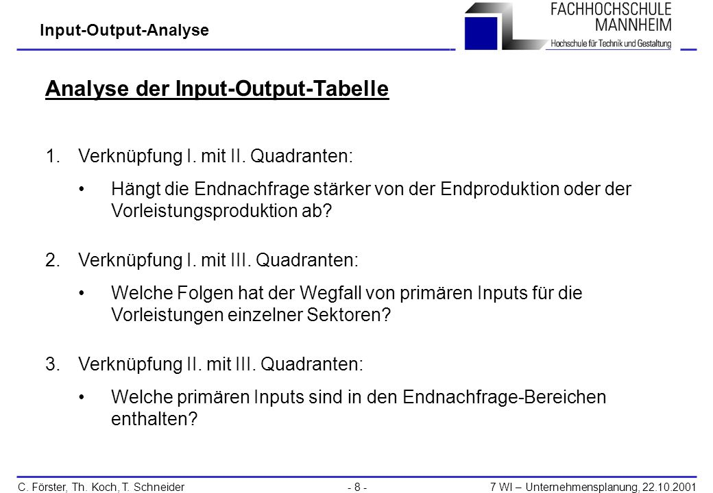 Analyse der Input-Output-Tabelle