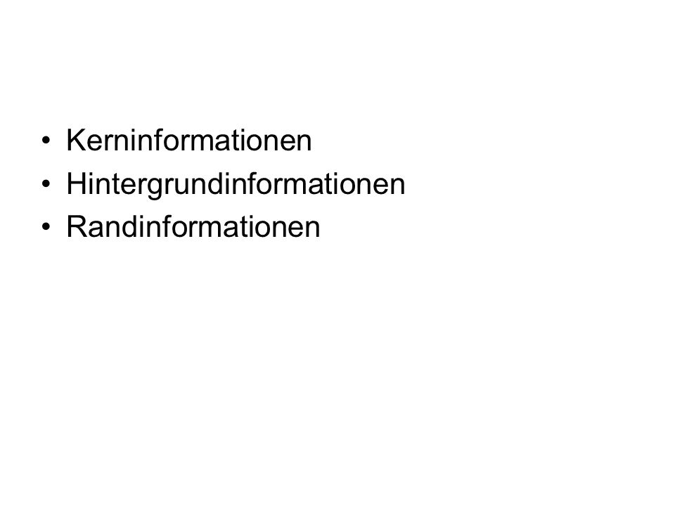 Kerninformationen Kerninformationen Hintergrundinformationen