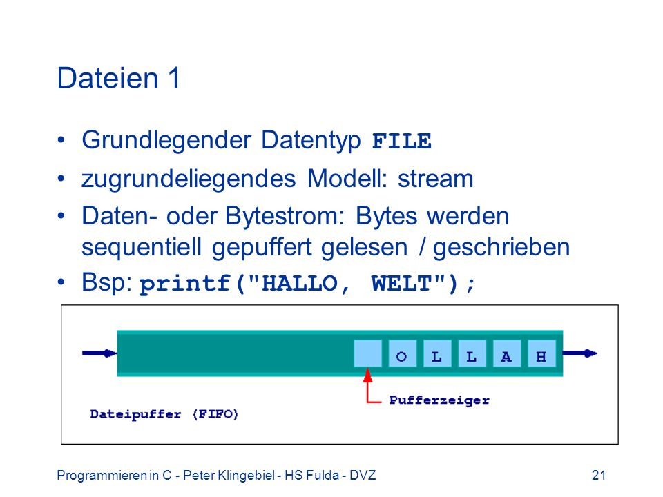 Dateien 1 Grundlegender Datentyp FILE zugrundeliegendes Modell: stream