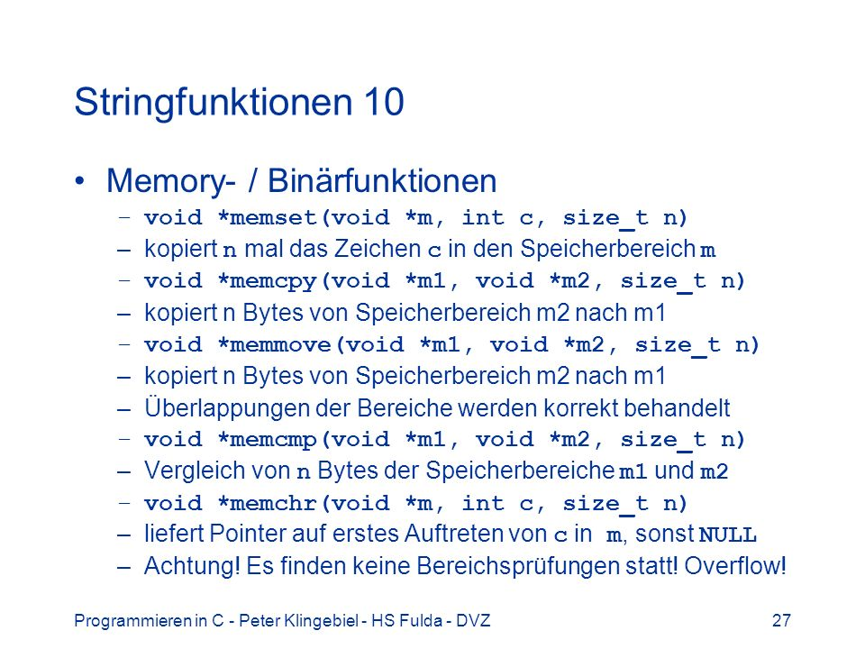 Stringfunktionen 10 Memory- / Binärfunktionen
