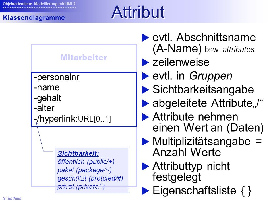 Attribut evtl. Abschnittsname (A-Name) bsw. attributes zeilenweise