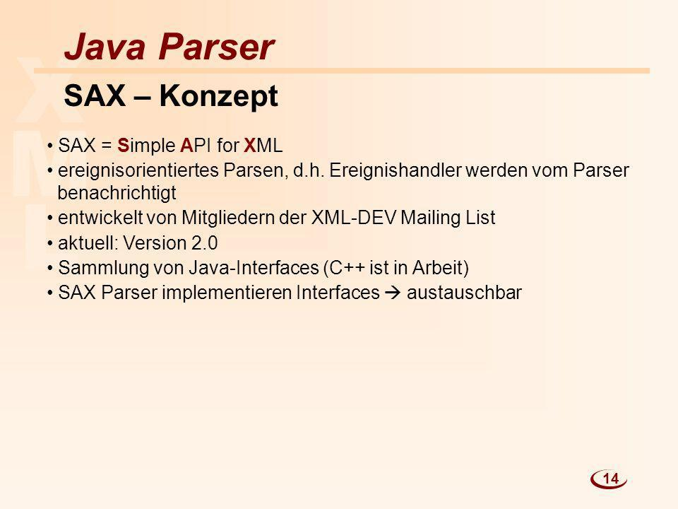 X M L Java Parser SAX – Konzept SAX = Simple API for XML