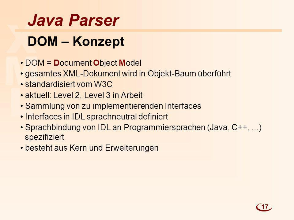 X M L Java Parser DOM – Konzept DOM = Document Object Model