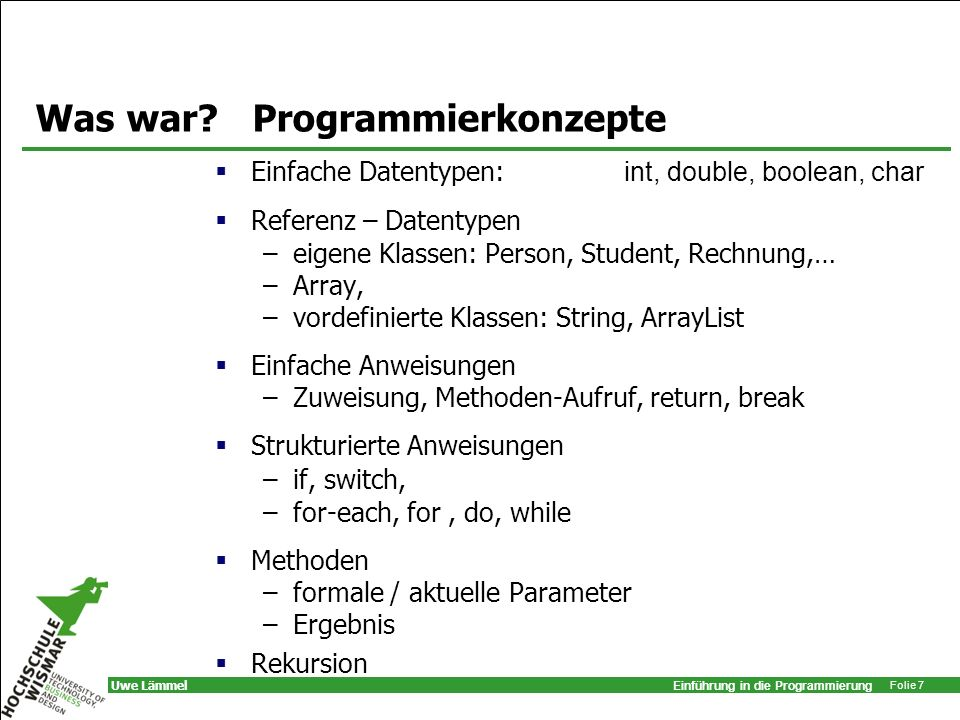 Was war Programmierkonzepte