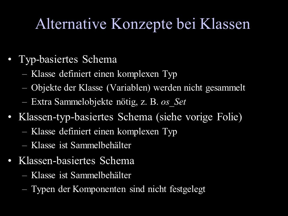 Alternative Konzepte bei Klassen