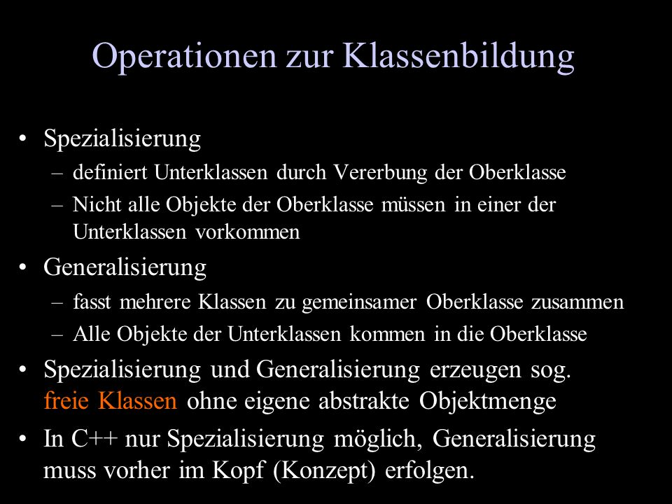 Operationen zur Klassenbildung