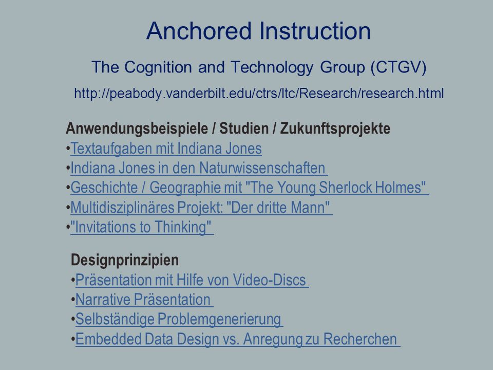 Anchored Instruction The Cognition and Technology Group (CTGV)