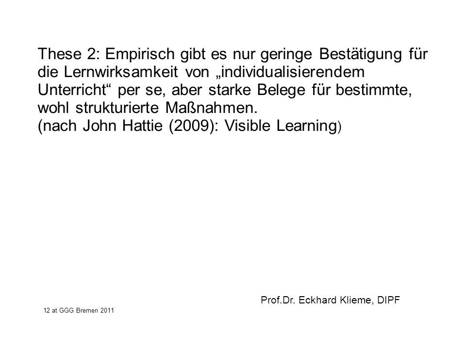 (nach John Hattie (2009): Visible Learning)