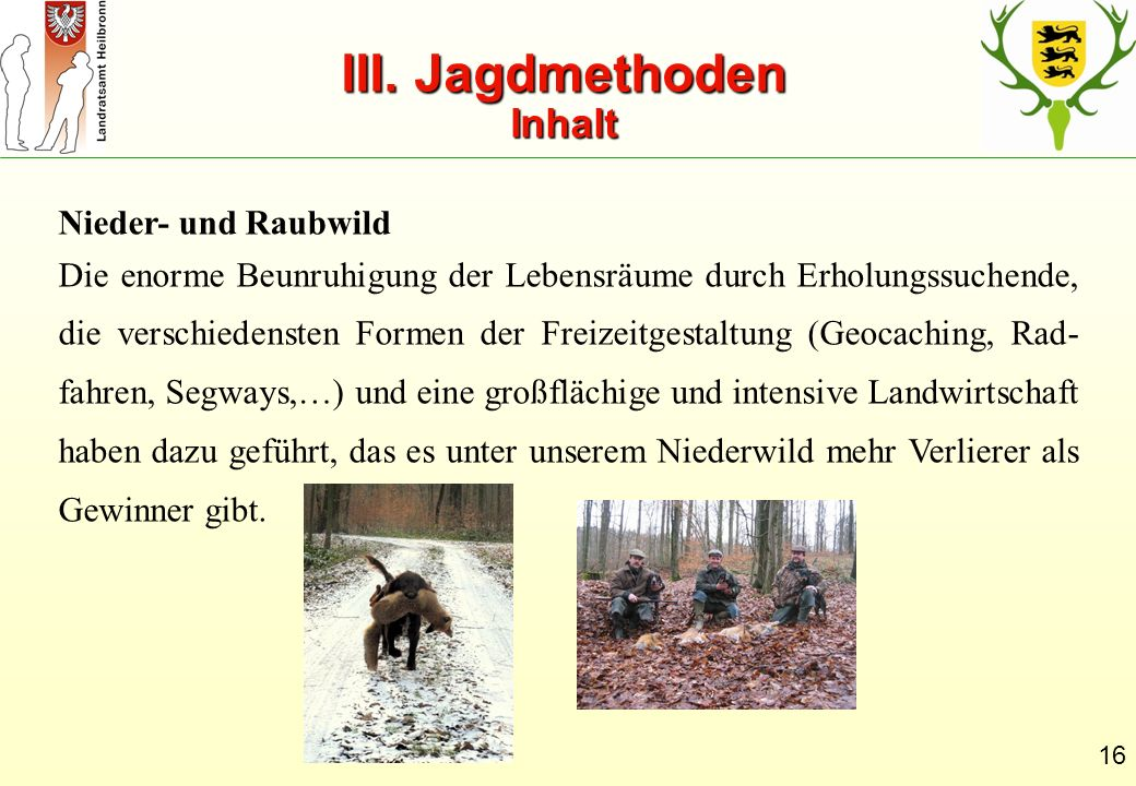 III. Jagdmethoden Inhalt