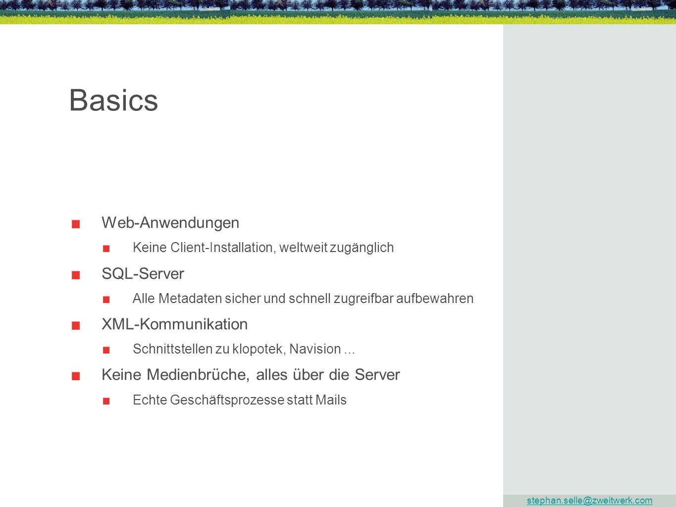 Basics Web-Anwendungen SQL-Server XML-Kommunikation