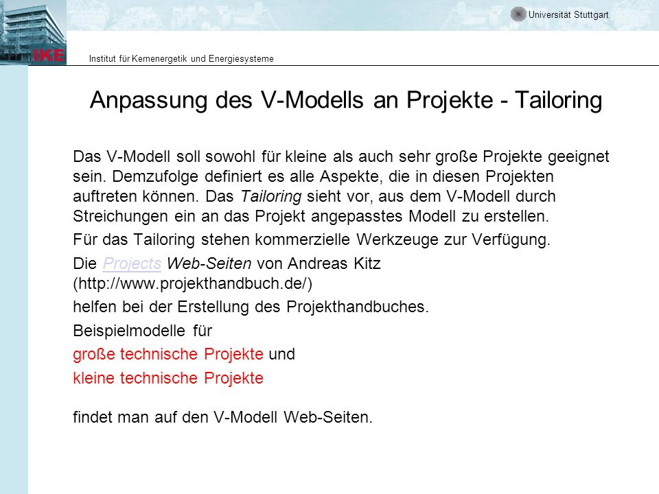 Anpassung des V-Modells an Projekte - Tailoring