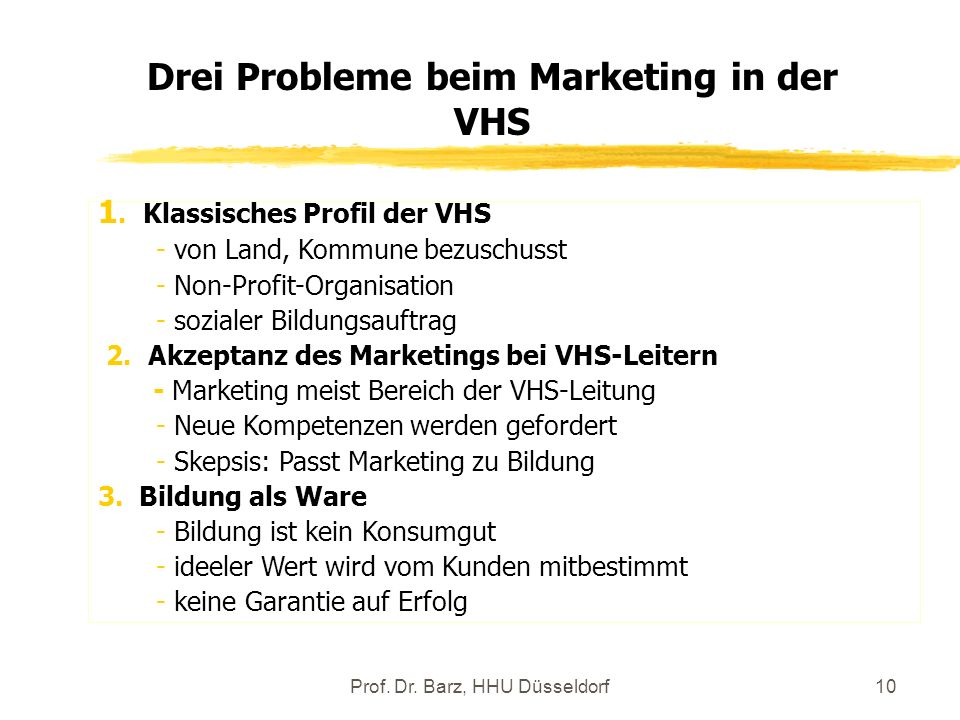 Drei Probleme beim Marketing in der VHS