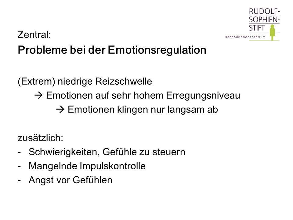 Probleme bei der Emotionsregulation