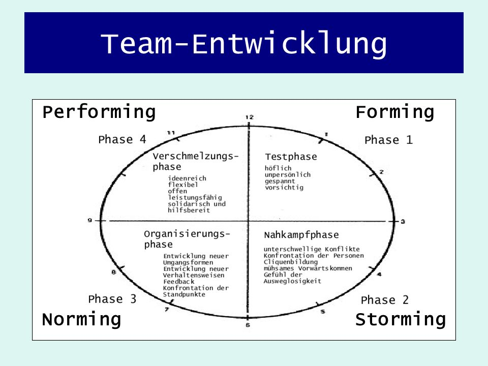 Team-Entwicklung Performing Forming Norming Storming