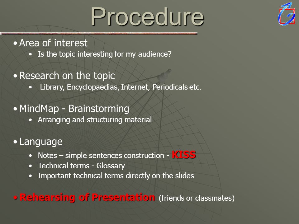 Procedure Area of interest Research on the topic