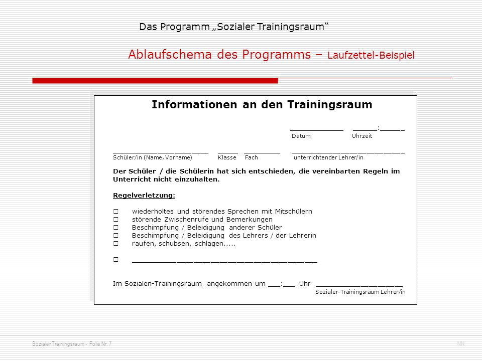 Informationen an den Trainingsraum