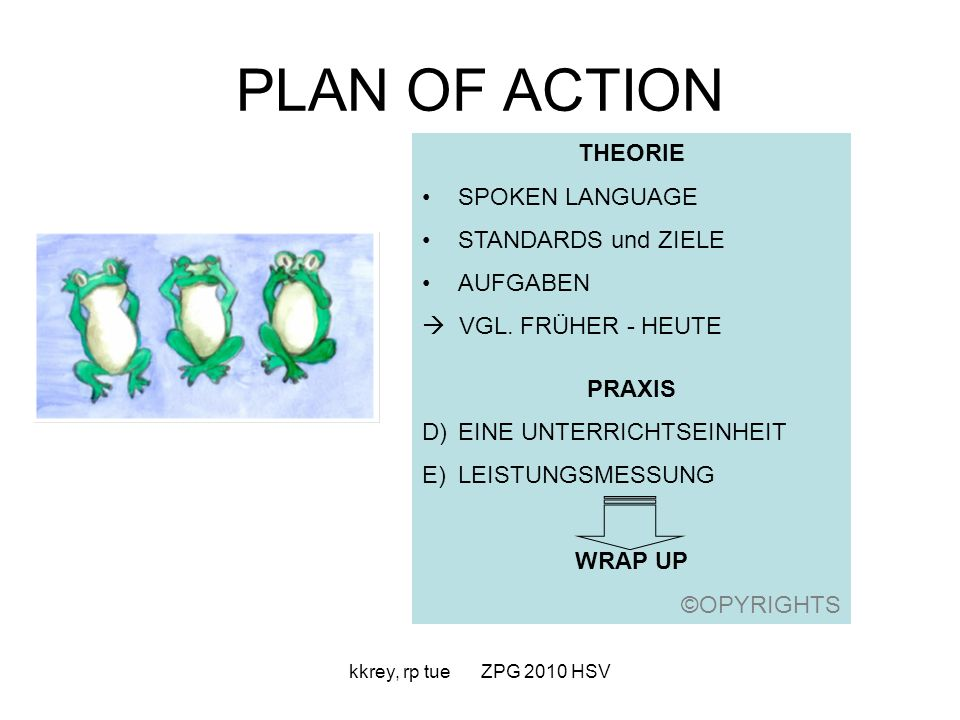 PLAN OF ACTION THEORIE SPOKEN LANGUAGE STANDARDS und ZIELE AUFGABEN