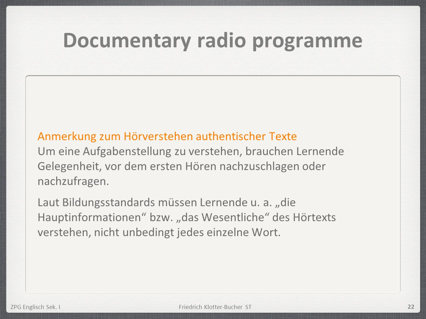 Documentary radio programme