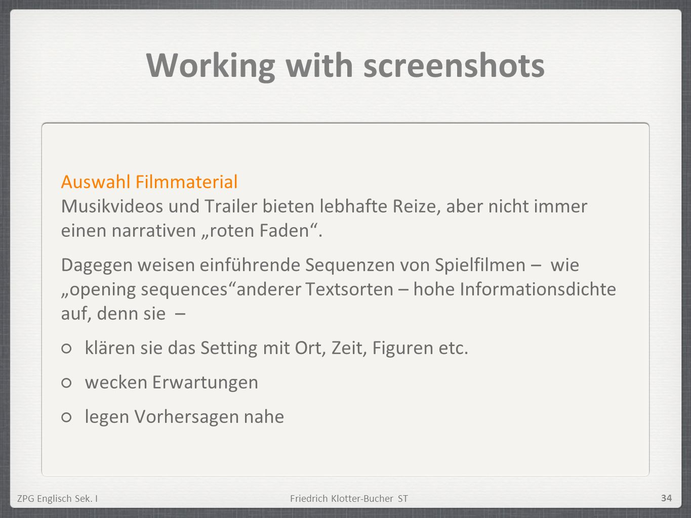 Working with screenshots