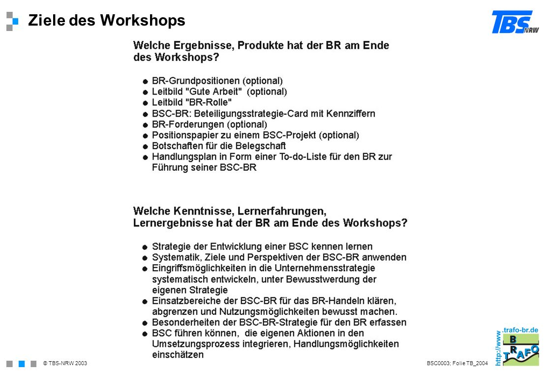 Ziele des Workshops BSC0003; Folie TB_2004
