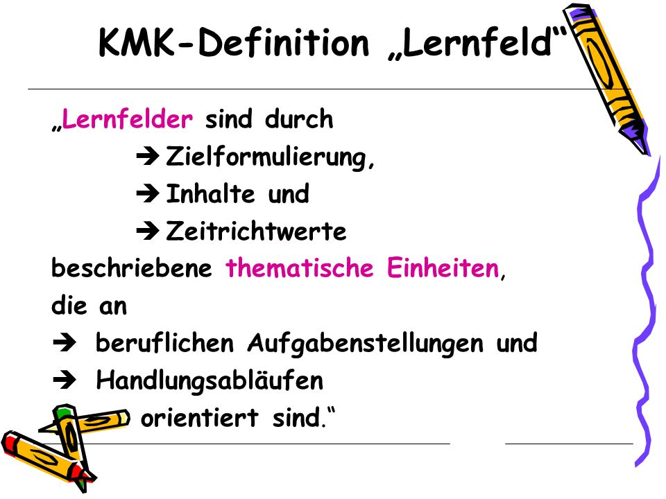 "KMK-Definition ""Lernfeld"
