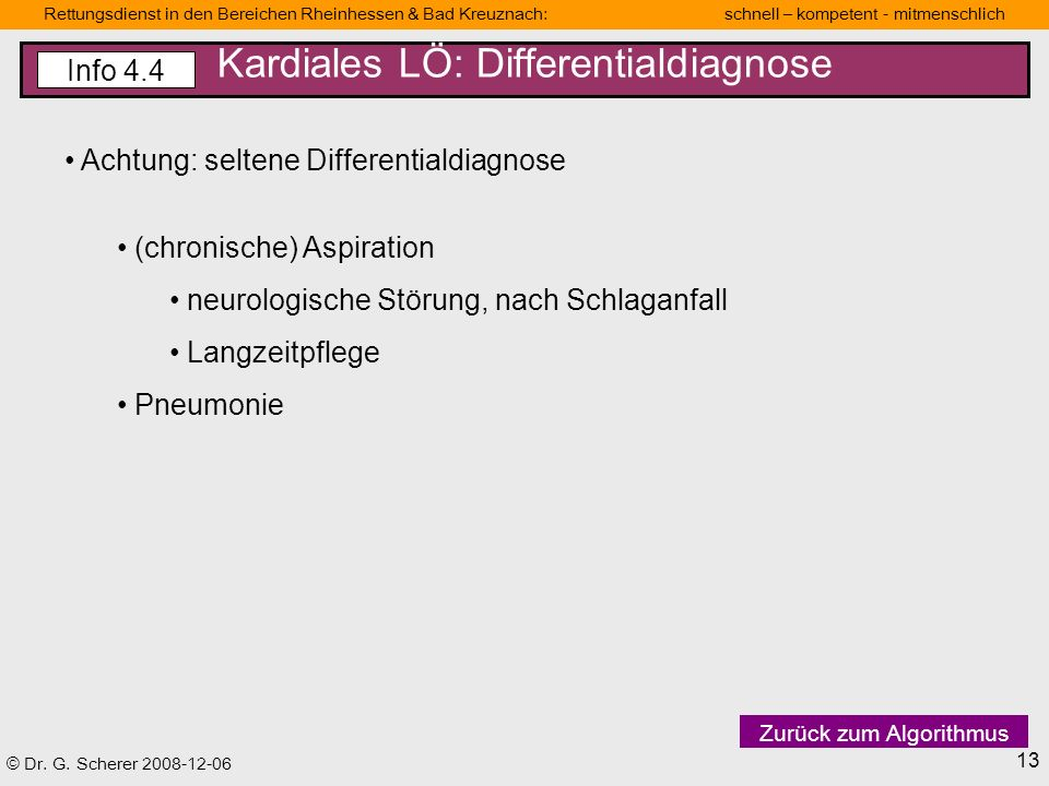 Kardiales LÖ: Differentialdiagnose