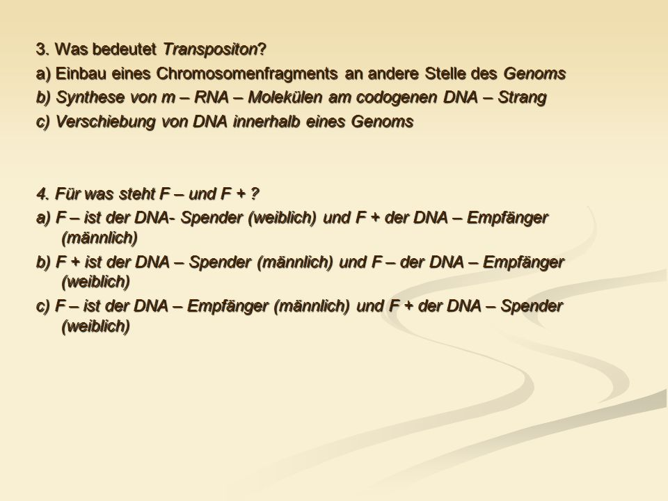 3. Was bedeutet Transpositon