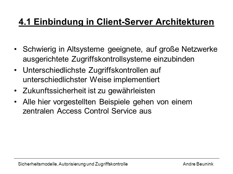 4.1 Einbindung in Client-Server Architekturen