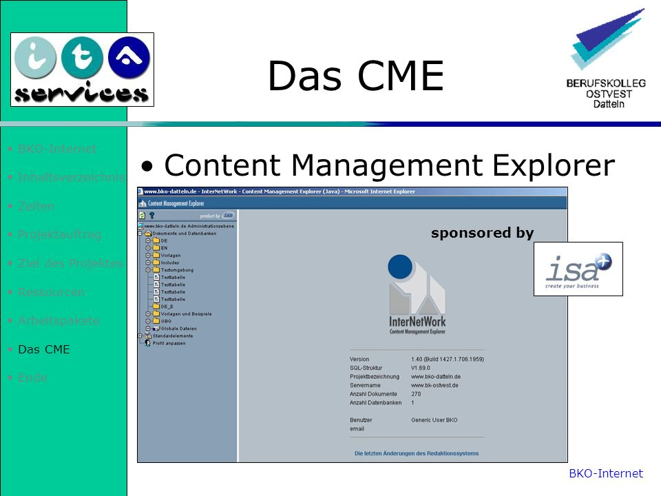 Das CME Content Management Explorer sponsored by BKO-Internet