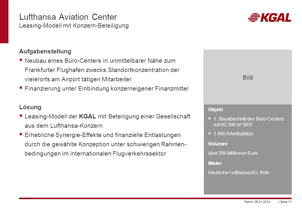 Lufthansa Aviation Center Leasing-Modell mit Konzern-Beteiligung