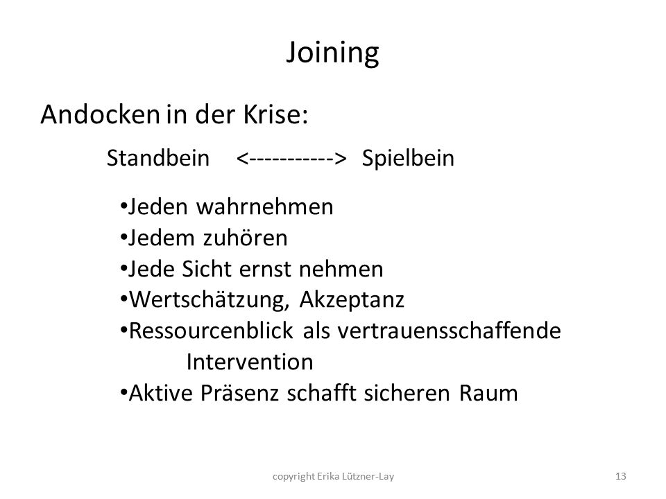 Joining Andocken in der Krise: Standbein < > Spielbein