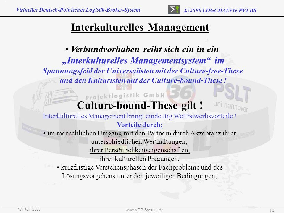 Interkulturelles Management Culture-bound-These gilt !
