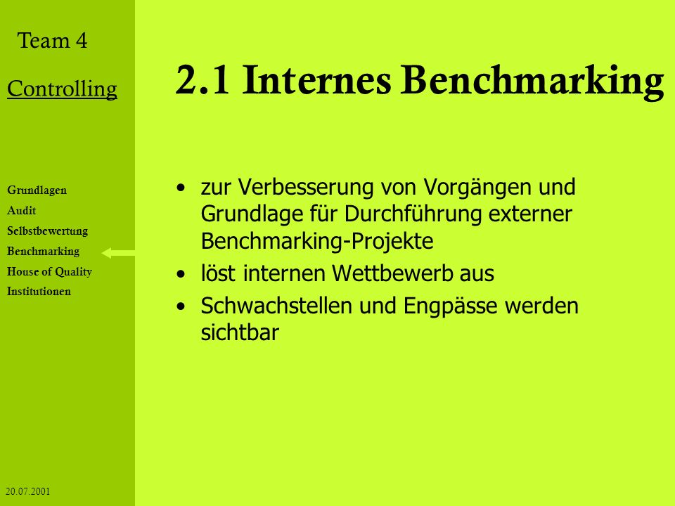 2.1 Internes Benchmarking