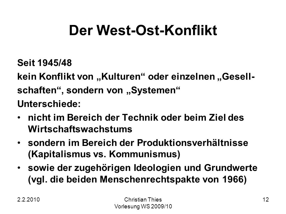 Der West-Ost-Konflikt