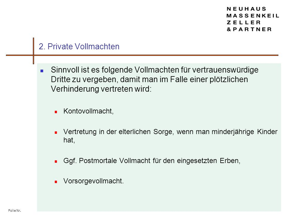 2. Private Vollmachten