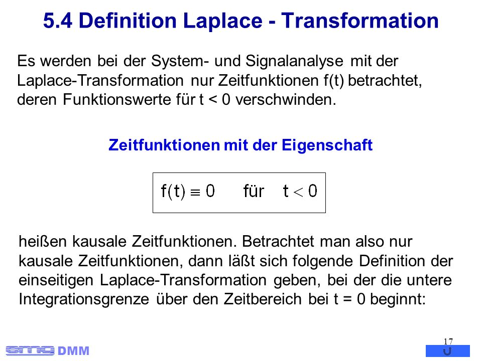 5.4 Definition Laplace - Transformation