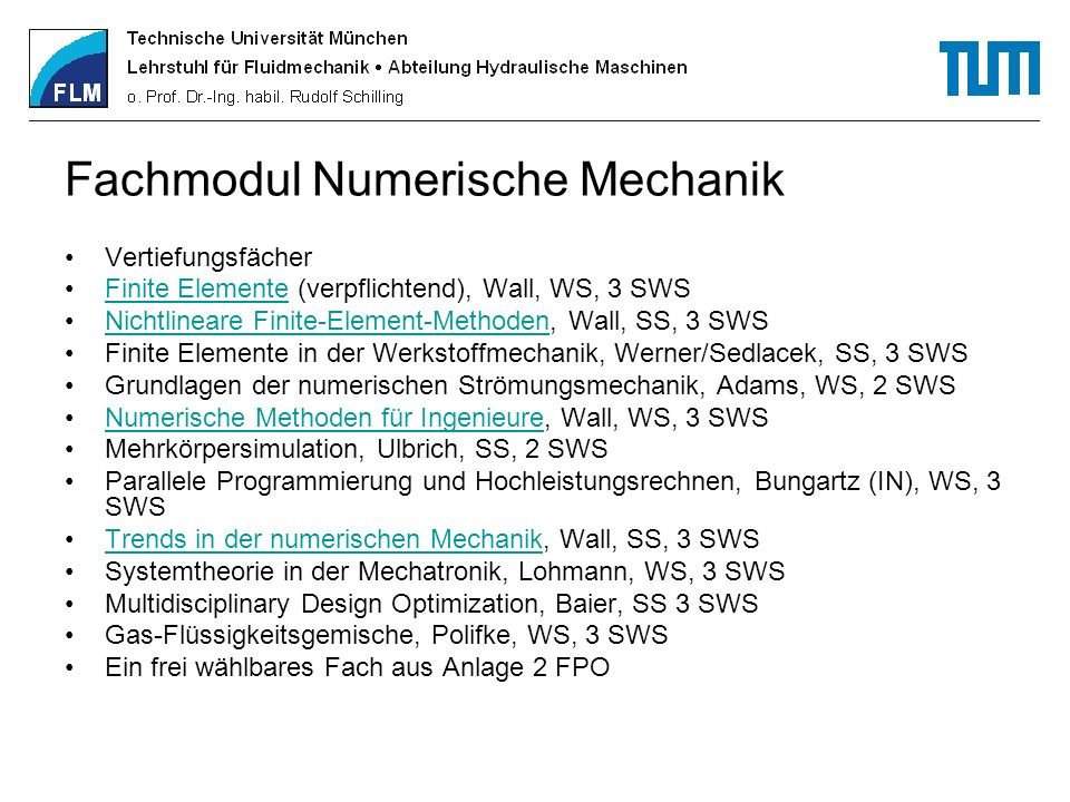 Fachmodul Numerische Mechanik