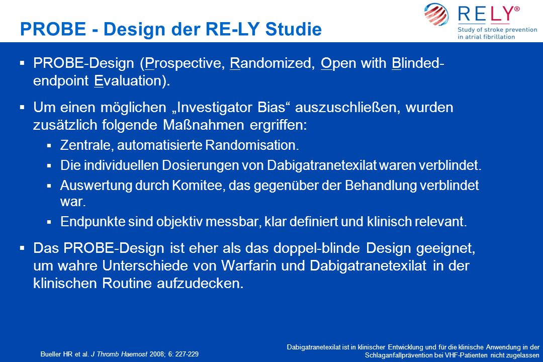 PROBE - Design der RE-LY Studie