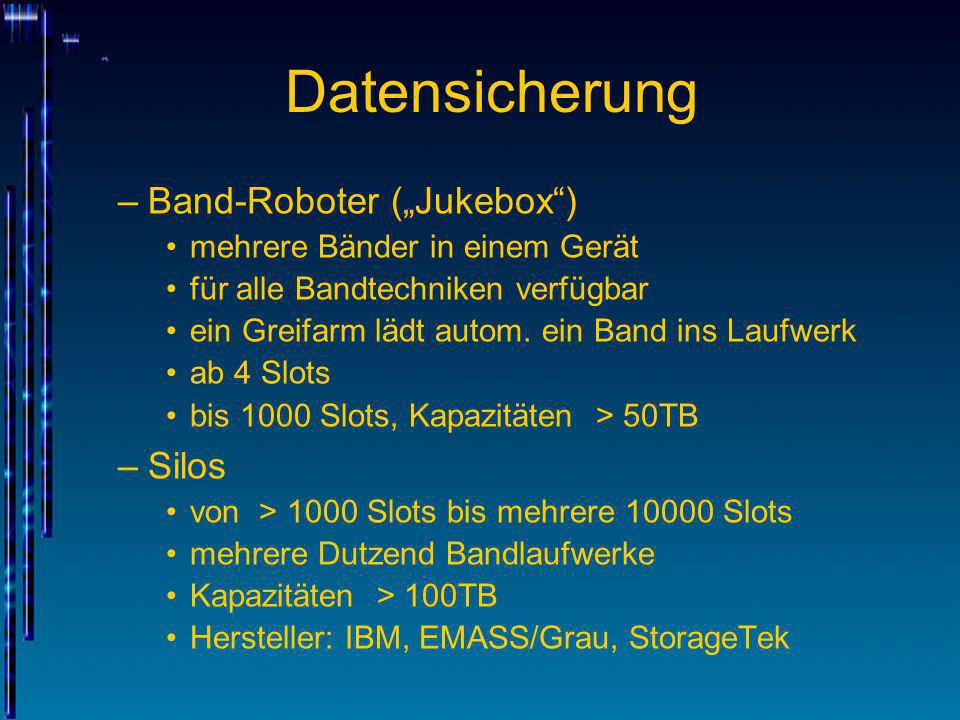 "Datensicherung Band-Roboter (""Jukebox ) Silos"