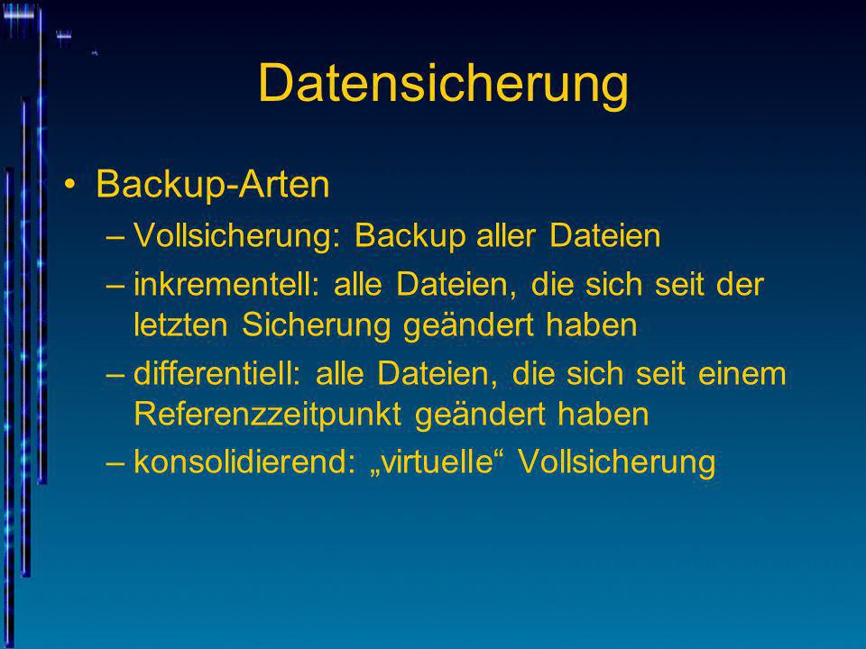 Datensicherung Backup-Arten Vollsicherung: Backup aller Dateien