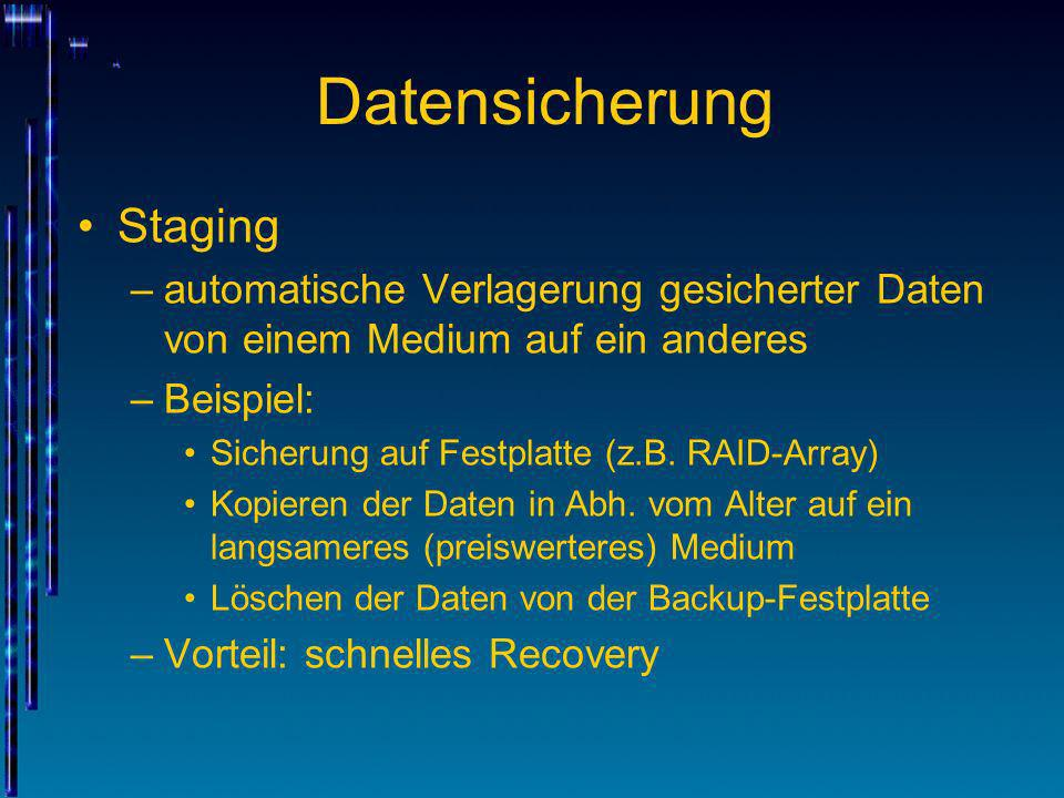 Datensicherung Staging