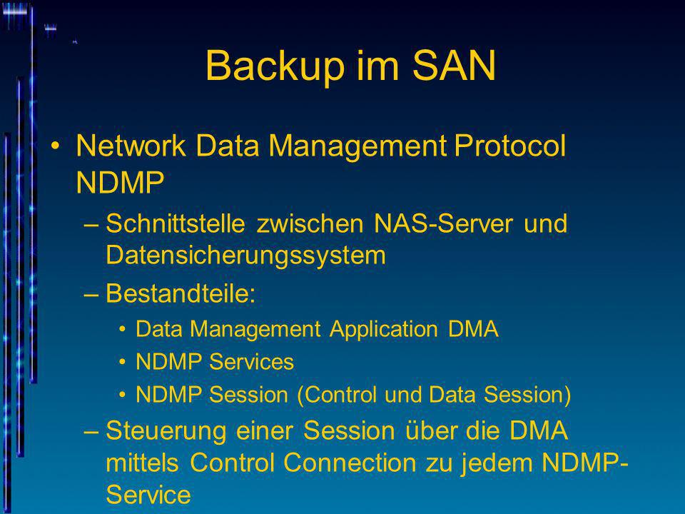 Backup im SAN Network Data Management Protocol NDMP