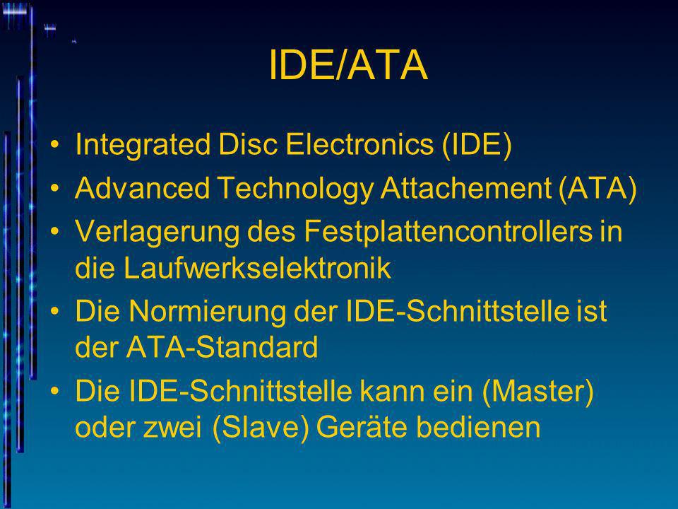 IDE/ATA Integrated Disc Electronics (IDE)