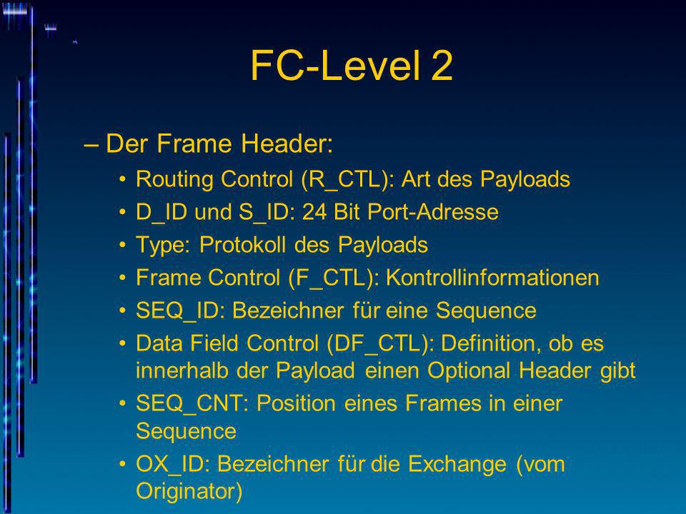 FC-Level 2 Der Frame Header: Routing Control (R_CTL): Art des Payloads