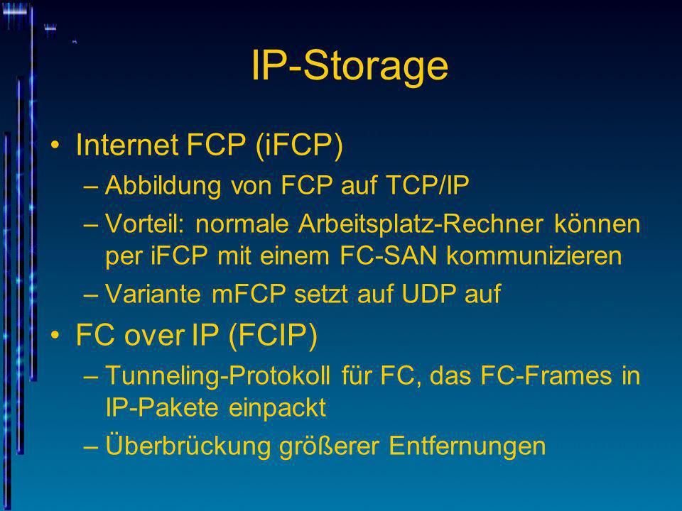 IP-Storage Internet FCP (iFCP) FC over IP (FCIP)